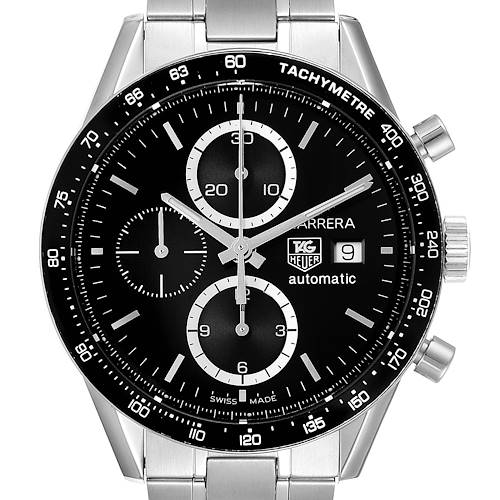 Photo of Tag Heuer Carrera Tachymeter Chronograph Steel Mens Watch CV2010 Card