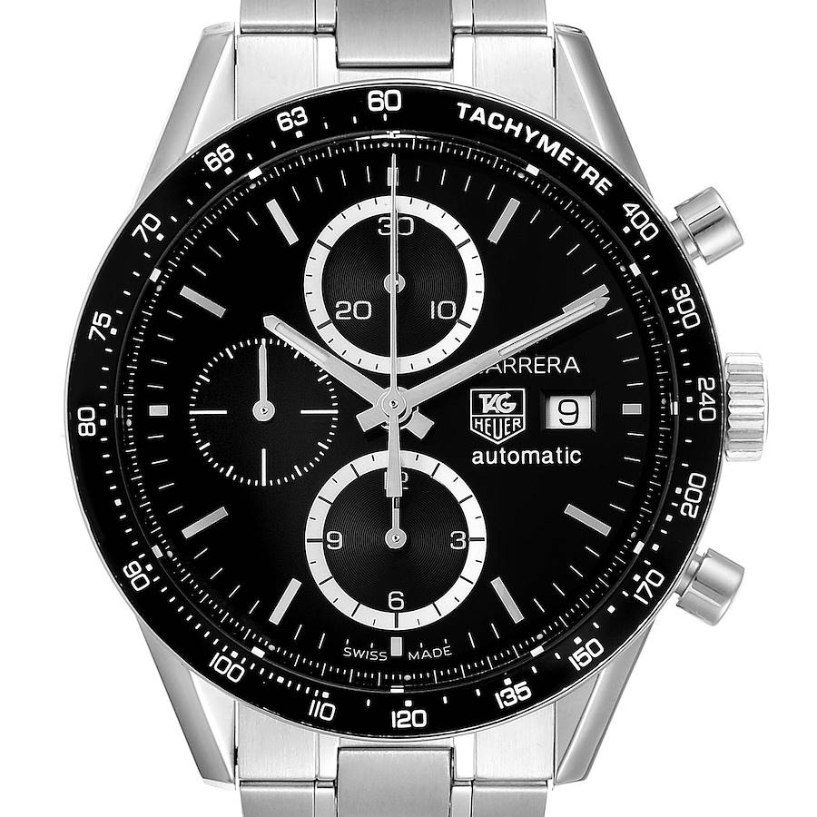 Tag Heuer Carrera Tachymeter Chronograph Steel Mens Watch CV2010 Card SwissWatchExpo
