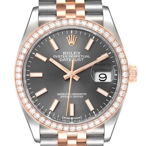 Photo of Rolex Datejust 36 Steel Rose Gold Diamond Unisex Watch 126281 Box Card