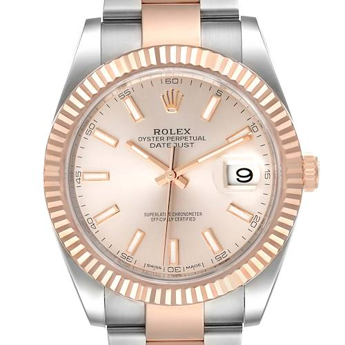 Photo of Rolex Datejust 41 Steel Everose Gold Sundust Dial Watch 126331 Box Card