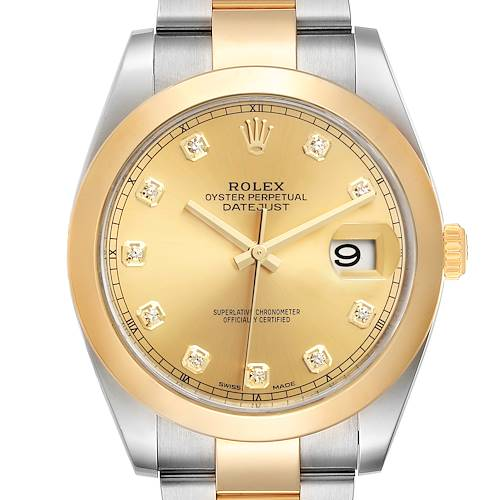 Photo of Rolex Datejust 41 Steel Yellow Gold Diamond Mens Watch 126303 Box Card
