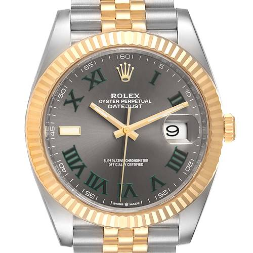 Photo of Rolex Datejust 41 Steel Yellow Gold Wimbledon Mens Watch 126333 Box Card