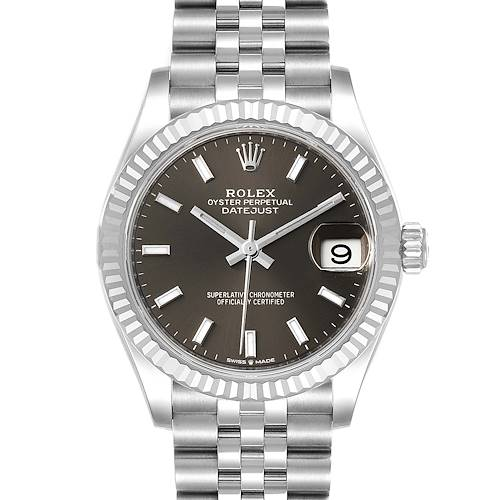 Photo of Rolex Datejust Midsize 31 Steel White Gold Slate Dial Watch 278274 Unworn