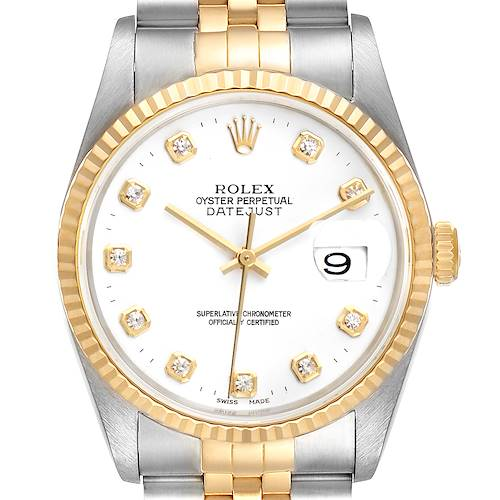 Photo of Rolex Datejust Steel Yellow Gold White Dial Diamond Mens Watch 16233