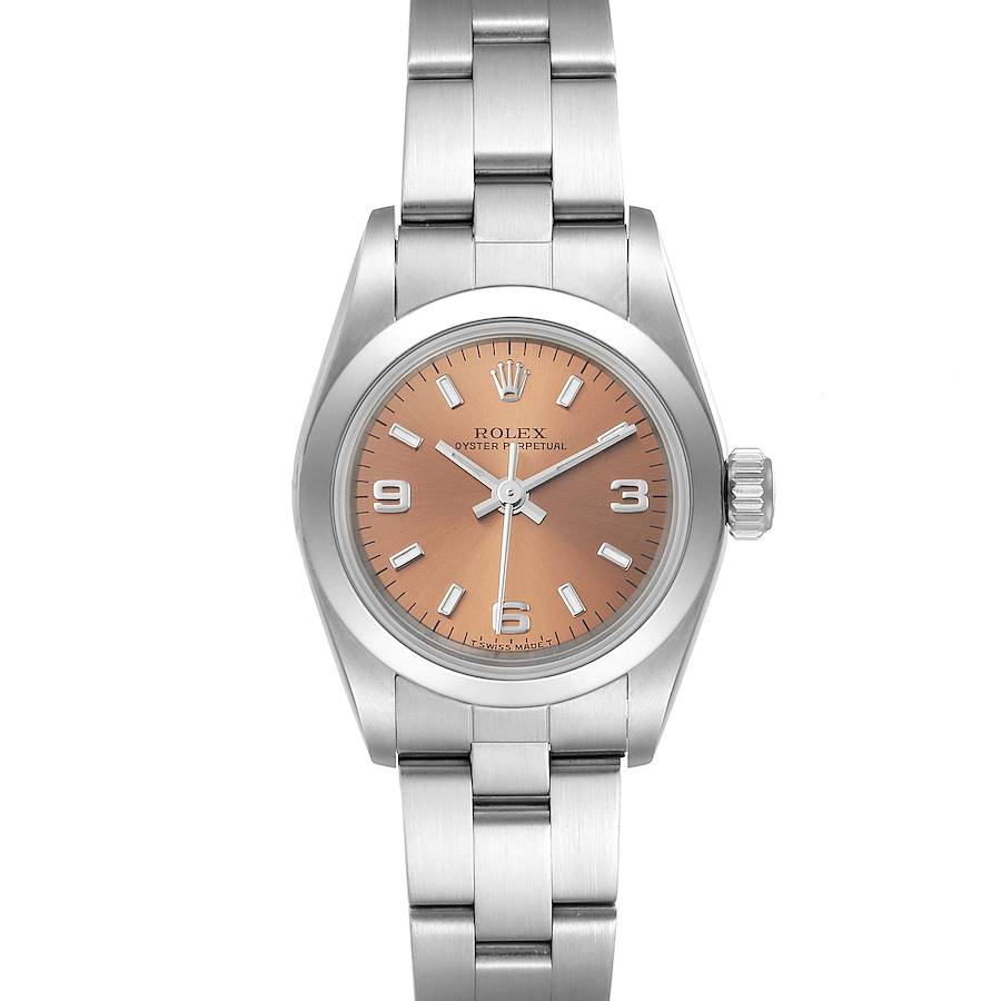 Rolex Oyster Perpetual Nondate Ladies Steel Salmon Dial Watch 67180 SwissWatchExpo