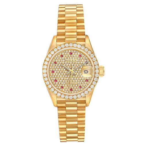 Photo of Rolex President Datejust Yellow Gold Diamond Rubies Ladies Watch 69138