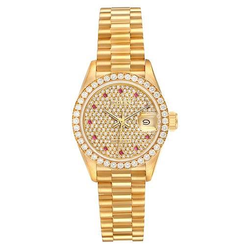 Photo of Rolex President Datejust Yellow Gold Diamond Rubies Ladies Watch 69138