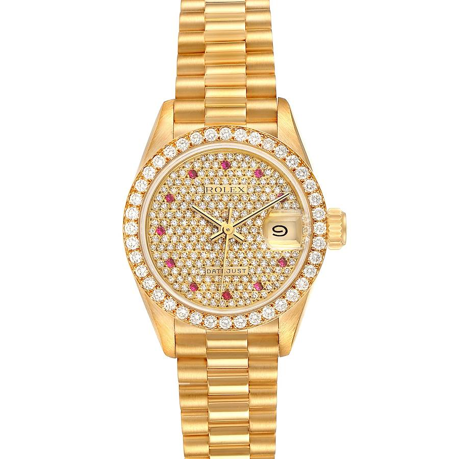 Rolex President Datejust Yellow Gold Diamond Rubies Ladies Watch 69138 SwissWatchExpo
