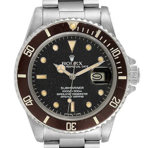 Photo of Rolex Submariner Date Steel Tropical Dial Mens Vintage Watch 16800