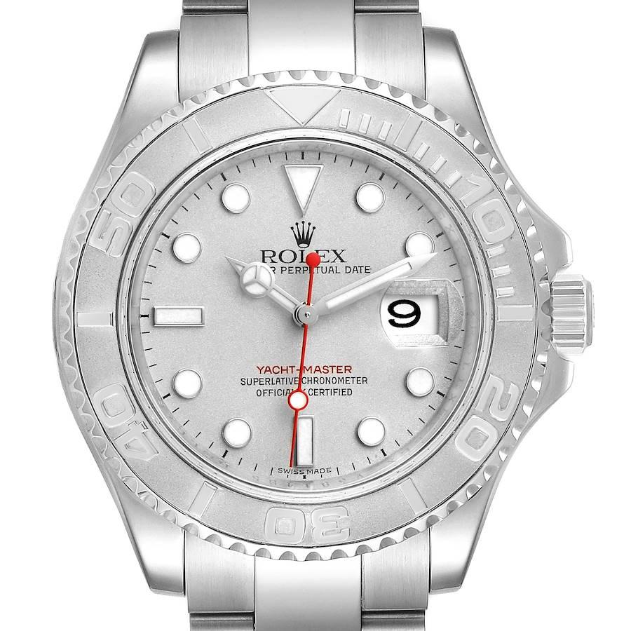 Rolex Yachtmaster 40 Steel Platinum Dial Bezel Mens Watch 16622 Box Card SwissWatchExpo
