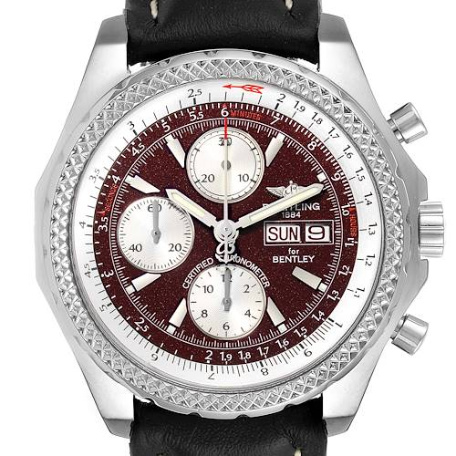 Breitling Bentley Motors GT Burgundy Dial Steel Mens Watch A13362