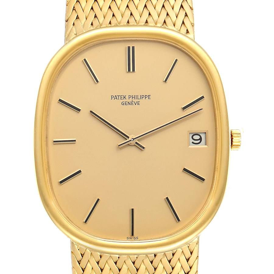Patek Philippe Golden Ellipse Jumbo 18k Yellow Gold Mens Watch 3605 SwissWatchExpo