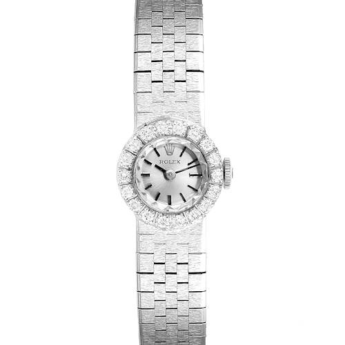 Photo of Rolex 14k White Gold Diamond Vintage Cocktail Ladies Watch 4431 Papers
