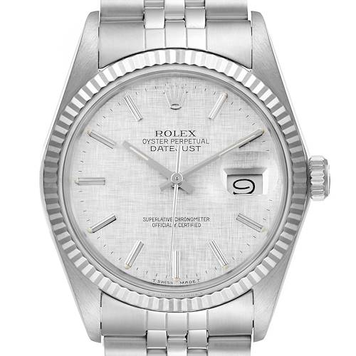 Photo of Rolex Datejust Steel White Gold Silver Linen Dial Vintage Watch 16014