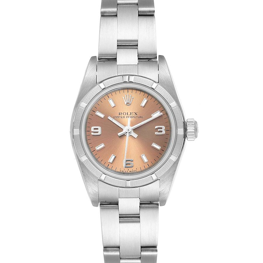 Rolex Oyster Perpetual Salmon Dial Steel Ladies Watch 76030 SwissWatchExpo