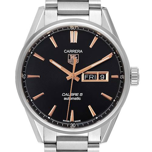 Photo of Tag Heuer Carrera Calibre 5 Day Date Steel Mens Watch WAR201C Card