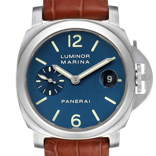 Panerai Luminor Blue Dial Automatic Steel Mens Watch PAM00119 Box Papers