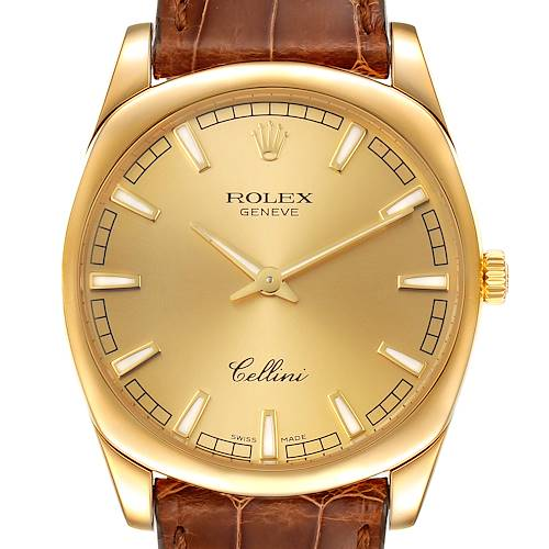 Photo of Rolex Cellini Danaos 18k Yellow Gold Brown Strap Mens Watch 4243