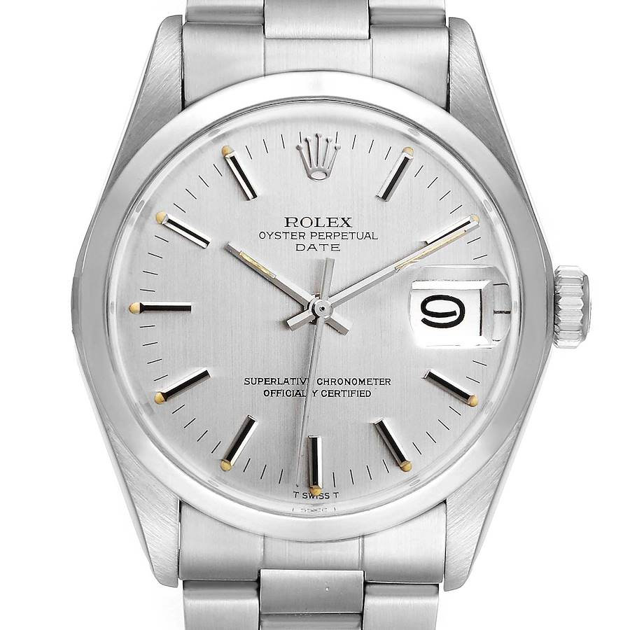 Rolex Date Stainless Steel Silver Dial Vintage Mens Watch 1500 Papers SwissWatchExpo