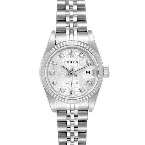 Photo of Rolex Datejust Steel White Gold Silver Diamond Dial Ladies Watch 79174