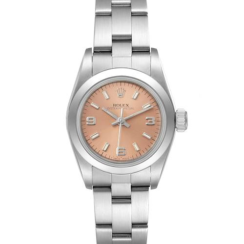 Photo of Rolex Oyster Perpetual Nondate Steel Salmon Dial Ladies Watch 67180 Papers