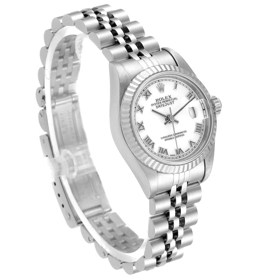 Rolex Datejust 26 Steel White Gold Roman Dial Ladies Watch 69174 Papers SwissWatchExpo