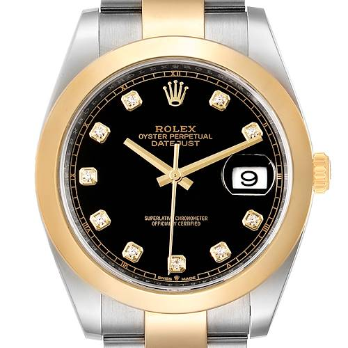 Photo of Rolex Datejust 41 Steel Yellow Gold Diamond Mens Watch 126303 Box Card