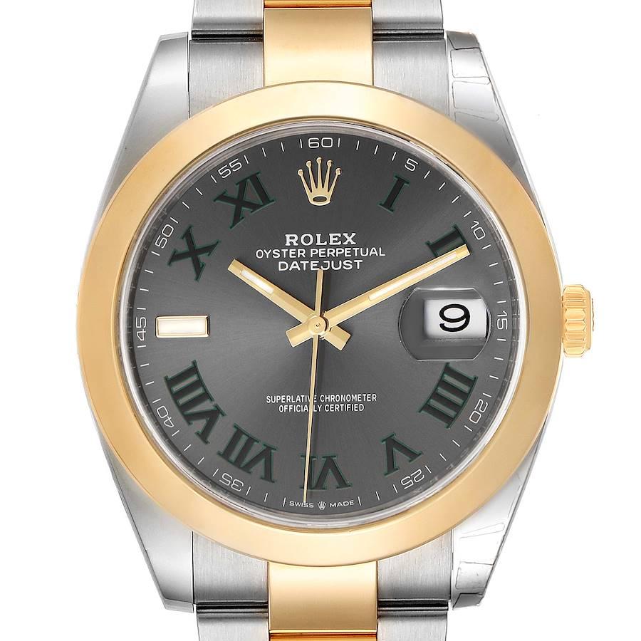 Rolex Datejust 41 Steel Yellow Gold Grey Green Dial Watch 126303 Box Card SwissWatchExpo