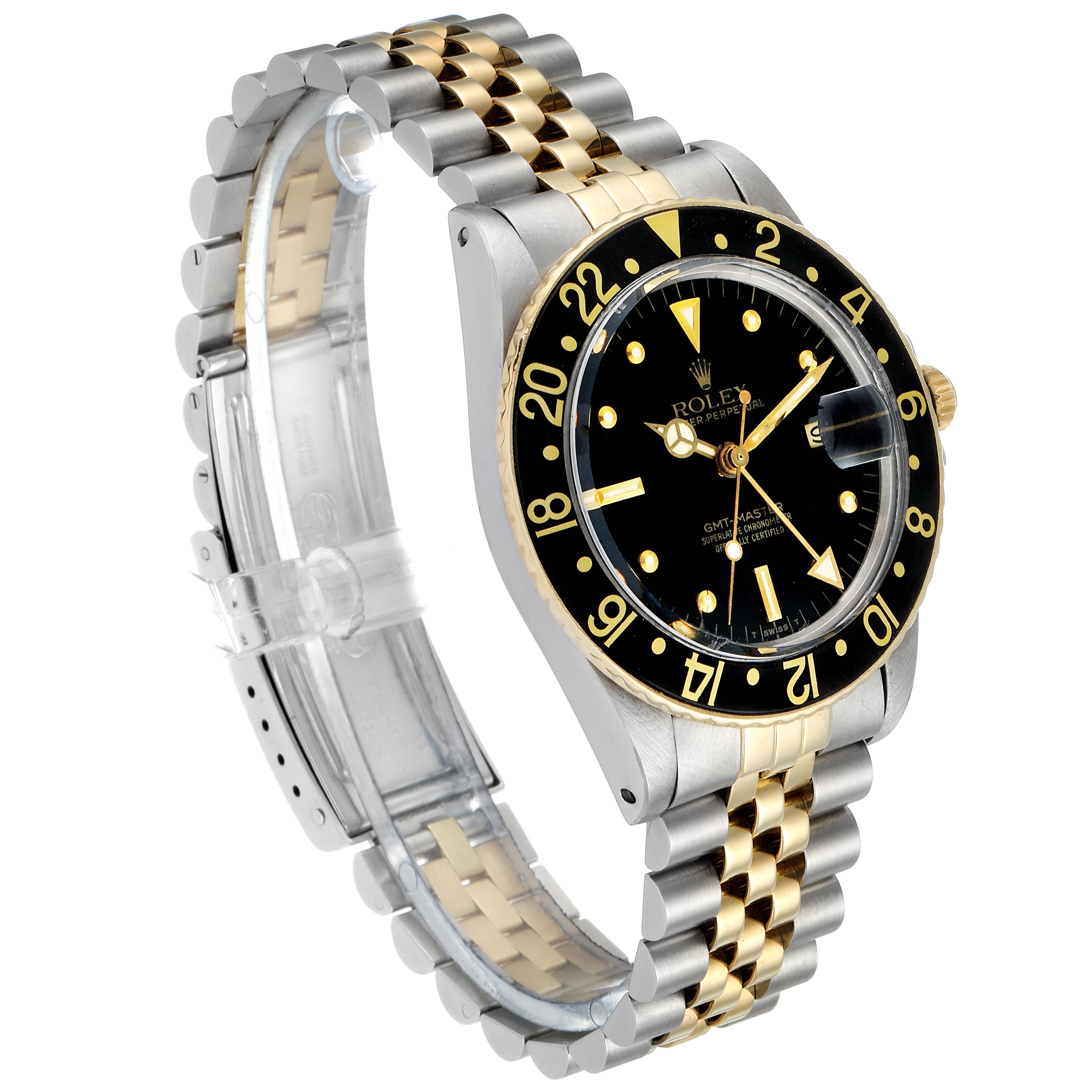 Rolex GMT Master Steel Yellow Gold Black Dial Vintage Mens Watch 16753 SwissWatchExpo
