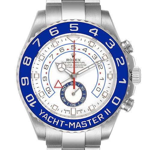 Photo of Rolex Yachtmaster II 44 Blue Cerachrom Bezel Mens Watch 116680 Box Card