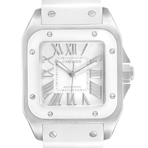 Photo of Cartier Santos 100 White Rubber Strap Steel Ladies Watch W20129U2