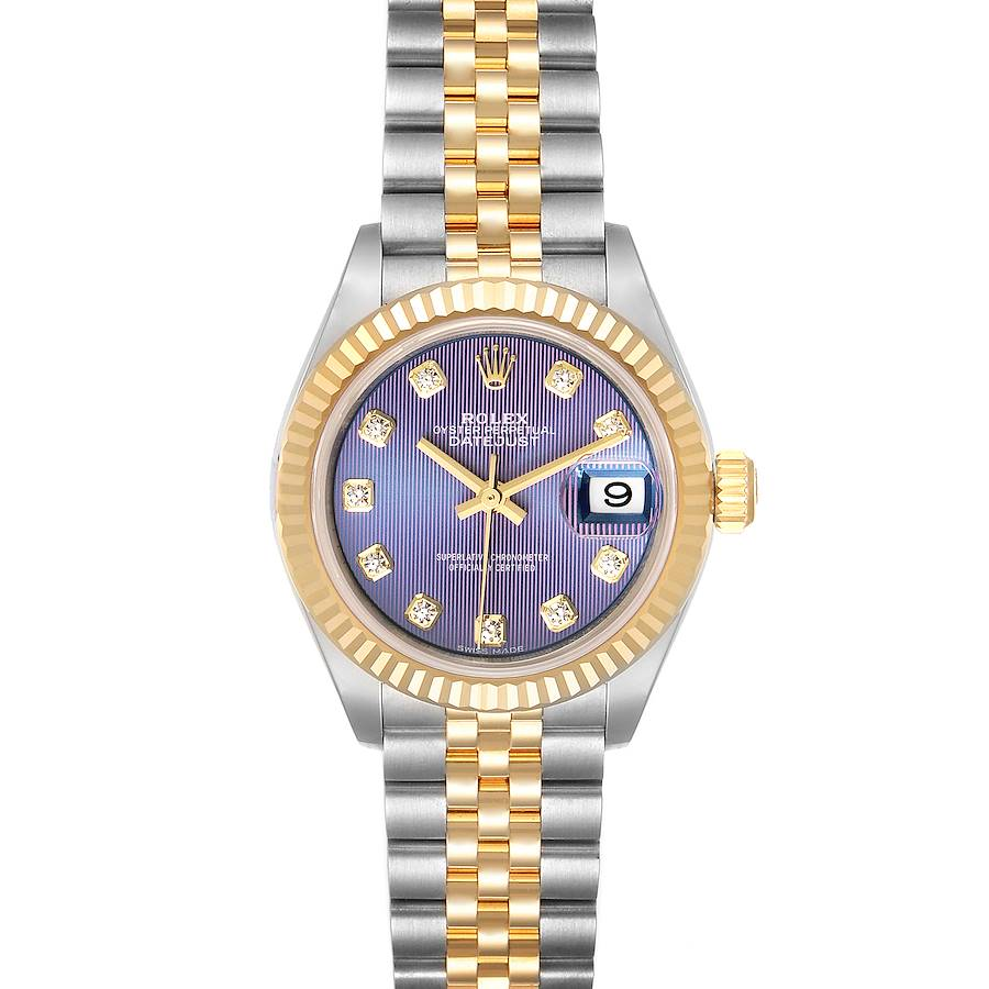 Rolex Datejust 28 Steel Yellow Gold Lilac Diamond Ladies Watch 279173 Unworn SwissWatchExpo