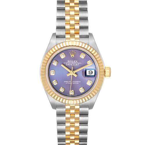 Photo of Rolex Datejust 28 Steel Yellow Gold Lilac Diamond Ladies Watch 279173 Unworn