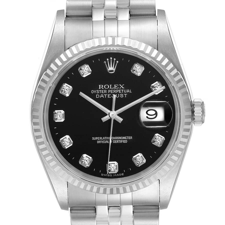 Rolex Datejust Steel White Gold Black Diamond Mens Watch 16234 Box Papers SwissWatchExpo