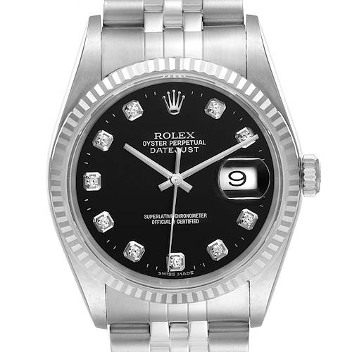 Photo of Rolex Datejust Steel White Gold Black Diamond Mens Watch 16234 Box Papers