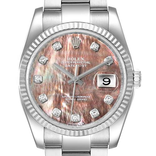 Photo of Rolex Datejust Steel White Gold MOP Diamond Mens Watch 116234 Box Papers