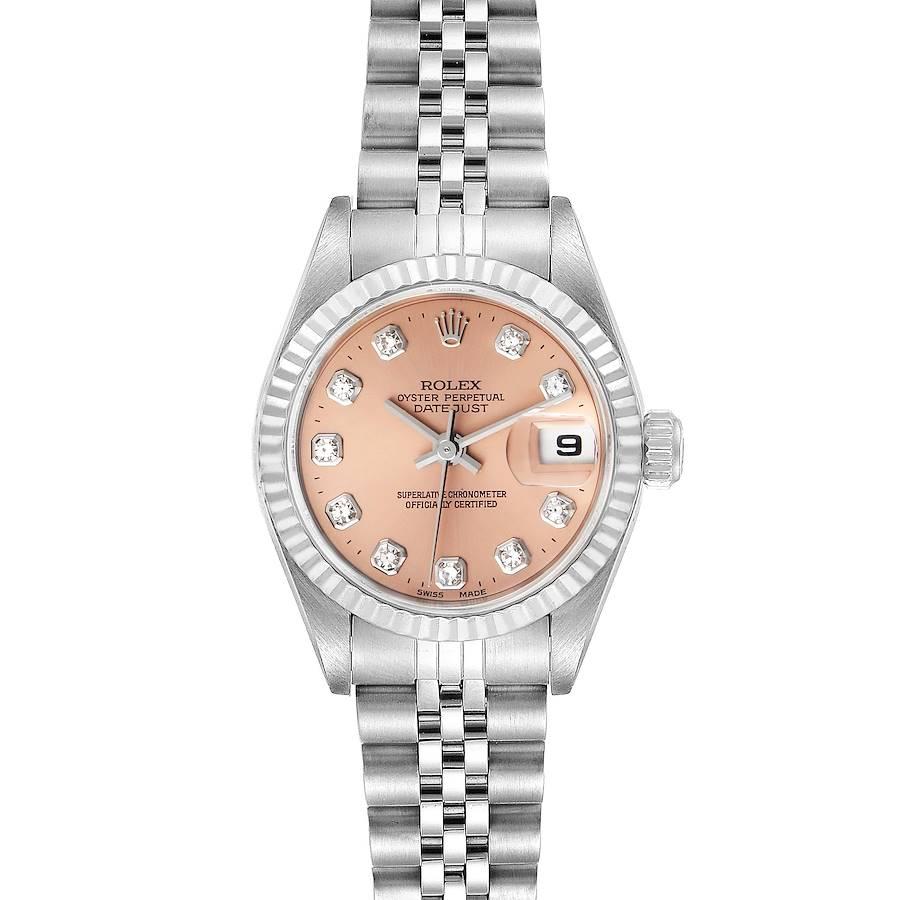 Rolex Datejust Steel White Gold Salmon Diamond Dial Ladies Watch 79174 SwissWatchExpo