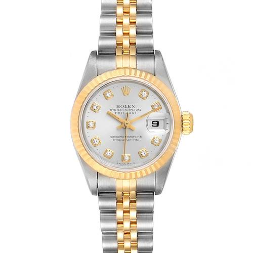 Photo of Rolex Datejust Steel Yellow Gold Silver Diamond Dial Ladies Watch 69173