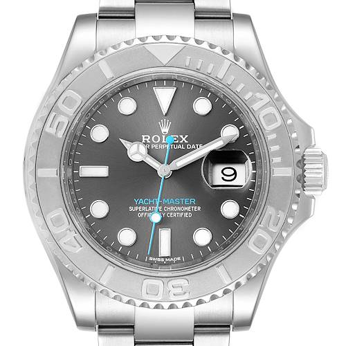 Photo of Rolex Yachtmaster Rhodium Dial Steel Platinum Mens Watch 116622 Box Card