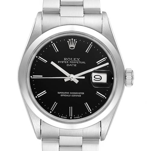 Photo of Rolex Date Smooth Bezel Black Dial Steel Vintage Mens Watch 1500