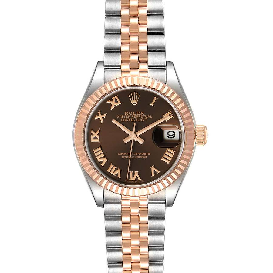 Rolex Datejust 28 Everose Rolesor Brown Dial Ladies Watch 279171 Box Card SwissWatchExpo