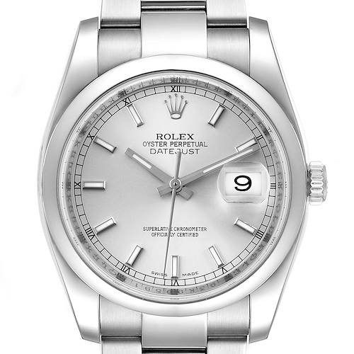 Photo of Rolex Datejust 36 Silver Baton Dial Steel Mens Watch 116200