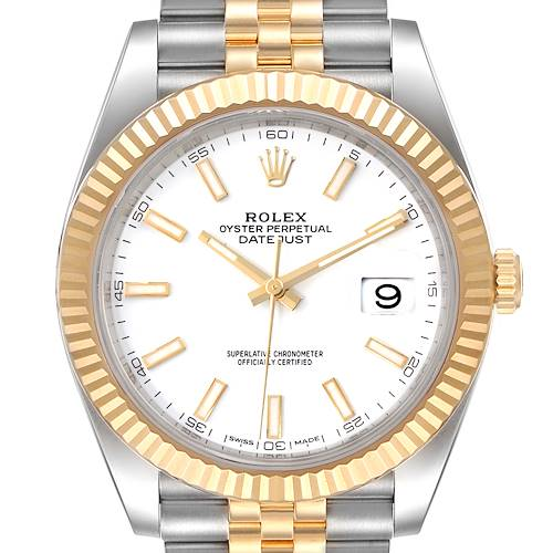 Photo of Rolex Datejust 41 Steel Yellow Gold White Dial Mens Watch 126333 Box Papers