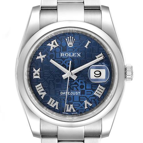 Photo of Rolex Datejust Blue Anniversary Dial Steel Mens Watch 116200 Box Papers