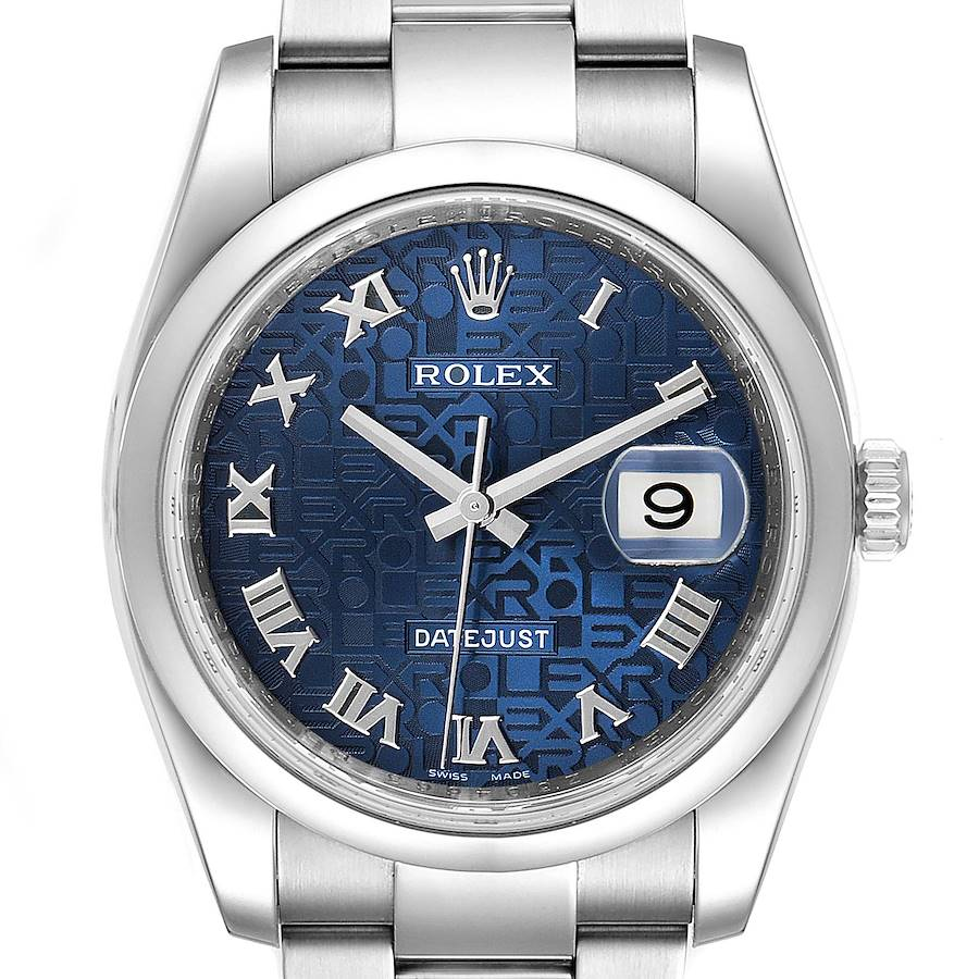 Rolex Datejust Blue Anniversary Dial Steel Mens Watch 116200 Box Papers SwissWatchExpo