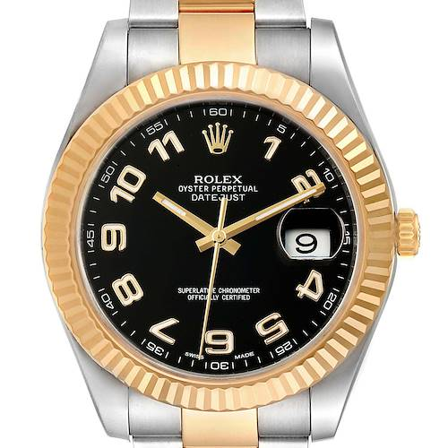 Photo of Rolex Datejust II Steel Yellow Gold Black Dial Mens Watch 116333