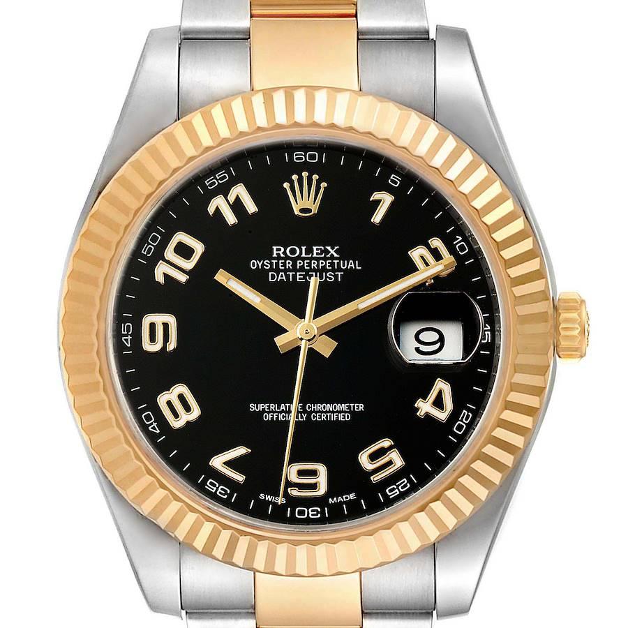 Rolex Datejust II Steel Yellow Gold Black Dial Mens Watch 116333 SwissWatchExpo