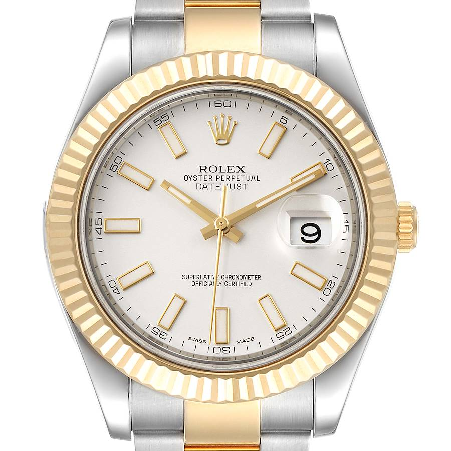 Rolex Datejust II Steel Yellow Gold Silver Dial Mens Watch 116333 SwissWatchExpo