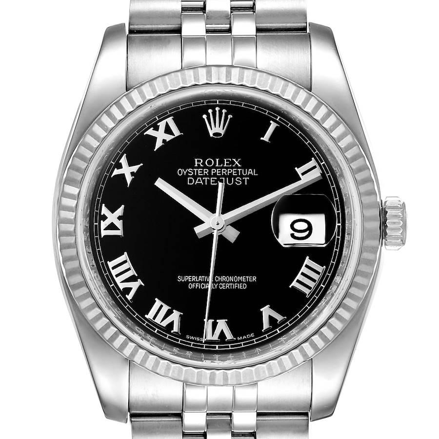 Rolex Datejust Steel 18K White Gold Black Dial Mens Watch 116234 Box Card SwissWatchExpo