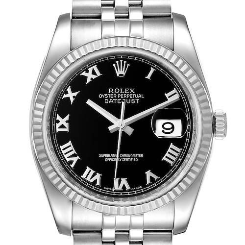 Photo of Rolex Datejust Steel 18K White Gold Black Dial Mens Watch 116234 Box Card
